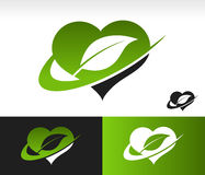 Swoosh Green Heart with Leaf Symbol. Green heart symbol with leaf and swoosh graphic element Royalty Free Stock Photo