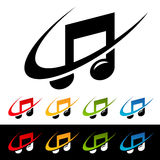 Swoosh Music Note Icons. Music note icons with swoosh graphic elements Royalty Free Stock Images