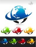 Swoosh Planeten-Erde-Ikonen vektor abbildung
