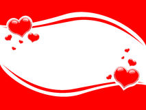 Swoosh Valentine Hearts Border Background Stock Images