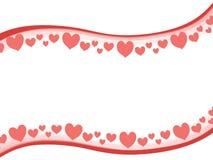 Swoosh Valentine Hearts Border Background stock photo