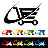 Swoosh wózek na zakupy ikony Fotografia Royalty Free