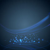 Swoosh wave over dark blue hi-tech background Stock Images