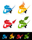 Swooshdollarsymboler vektor illustrationer