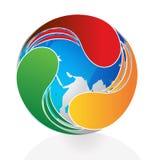 Swooshes логотипа вокруг мира Стоковое фото RF