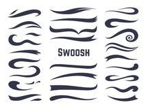 Swooshes i swashes Podkreślenie chłosta ogony dla sporta teksta logo, zawijas chrzcielnicy linii dekoracji kaligraficzny element royalty ilustracja