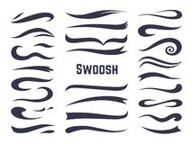 Swooshes and swashes. Underline swish tails for sport text logos, swirl calligraphic font line decoration element. Vector swash style set royalty free illustration