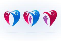 Swooshsymbolsuppsättning med familj- och förälskelsetema också vektor för coreldrawillustration Royaltyfri Fotografi