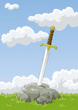 Sword. Sticking out of the stone, vector Stock Photography
