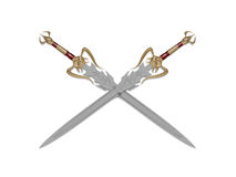 Sword. The image of the sword laying on a background, 3D rendering Stock Image
