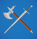 Sword and axe crossed Royalty Free Stock Photos