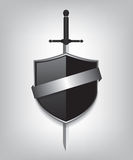 Sword and black shield Royalty Free Stock Photos