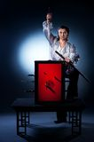 Sword box illusion. Picture of a Sword box illusion royalty free stock images