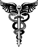 Sword Caduceus. Woodcut variant image of the Caduceus with the snake entwined around a sword Royalty Free Stock Images