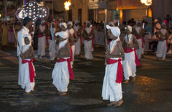 Sword Carriers perform during the Esala Perahera in Kandy, Sri Lanka. Royalty Free Stock Photography