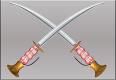 Sword cross. Two sword cross plain background illustration with clipping path Royalty Free Stock Photo