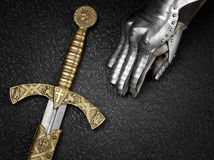 The sword of the Crusader and the knight's. Stock Photo
