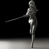 Sword dancer. Female martial artist posing with a sword in black and white Stock Photos