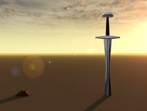 Sword at dawn stock illustration