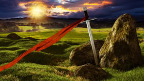 Sword in the dramatic sunny landscape. stock video footage