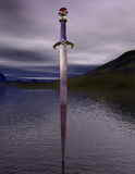 The sword excalibur on the lake Royalty Free Stock Photography