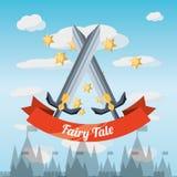 Fairytale concept design. Sword of fairytale fantasy and magic theme Vector illustration Royalty Free Stock Photos