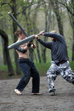 Sword fight stock photography