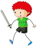 Sword fight. Close up happy boy playing sword fight Stock Photo