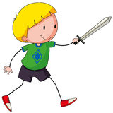 Sword fight. Closeup happy boy playing sword fight Stock Images