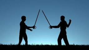 Sword Fight. Illustration of two men sword fighting Royalty Free Stock Photos