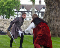 Sword Fight. Shakespeare Actors In Open Air Theater Royalty Free Stock Images