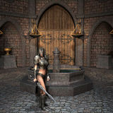 Sword fighter in the courtyard. 3D Rendering - Sword fighter in the courtyard Royalty Free Stock Photos
