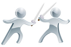Sword fighters. A pair of silver sword fighters in the middle of a sword fight Royalty Free Stock Photos