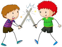 Sword fighting. Two boys playing sword fight Stock Photography