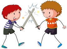 Sword fighting. Two boys playing sword fight Royalty Free Stock Images