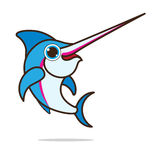 Sword fish cute cartoon. Eps 10 vector Stock Photography