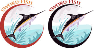 Sword-fish label. Royalty Free Stock Photography