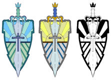 Sword Guard. Sword over shield hand drawn  design, colored and black and white versions, isolated Royalty Free Stock Photography