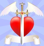 Sword and heart. On blue abstract background of a large scarlet heart and feathered ceremonial sword Royalty Free Stock Photography