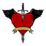 Sword and heart tattoo royalty free illustration