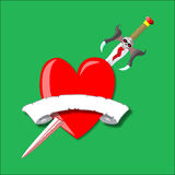 Sword and heart vector Stock Image
