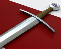 Sword Hilt on Red Velvet. A sword displayed on a red velvet cloth Stock Image