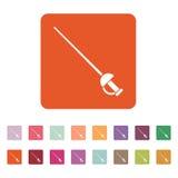 The sword icon. Epee symbol. Flat Stock Photo