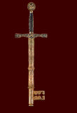 Sword and key. Combined image of a medieval sword and a vintage key Royalty Free Stock Photos