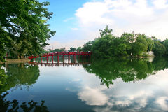 Sword Lake Hanoi. Bridge at Sword Lake Hoan Kiem Stock Photo
