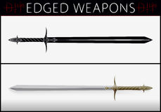Sword. Medieval Weapons. Silhouette and Colored Royalty Free Stock Images