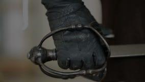 Sword in Mens Hands stock video footage