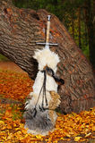 Sword near the tree. Royalty Free Stock Photos