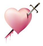 Sword Piece of Heart heartbroken concept Royalty Free Stock Photo