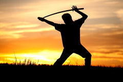 Sword play at sunset. Stock Image